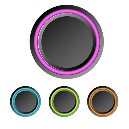 Abstract user interface elements set with dark blank round buttons and colorful rings isolated vector illustration