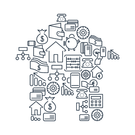 Financial lined icons set with money and bankings elements in form of home isolated vector illustration