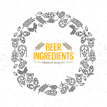 Stylish design round frame with icons of flowers, twig of hops, blossom, malt around the words beer ingredients in the centre vector illustration