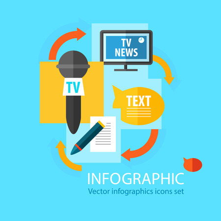 Mass media infographic flat concept with different public sources of information receiving on blue background vector illustration