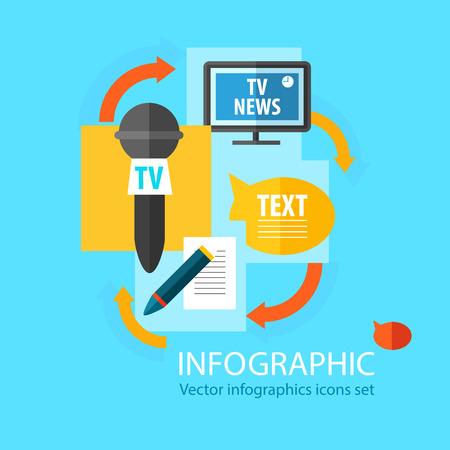Massamedia infographic vlak concept met verschillende openbare bronnen van informatie die op blauwe vectorillustratie ontvangen als achtergrond Vector Illustratie