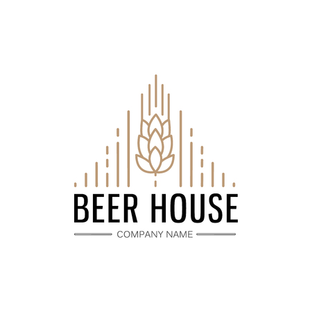 Hand drawn beer house logo template with ears of wheat for bar pub brewing company isolated vector illustration