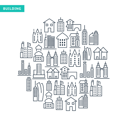 Buildings and immovables lined icons set in round shape on white background isolated vector illustration Illustration