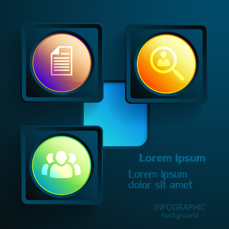 Infographic business elements with three colorful light web buttons and icons on dark background vector illustration