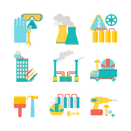 Collection of nine decorative icons with mining mechanism, buildings, smokestack and others useful elements in the plant isolated vector illustration