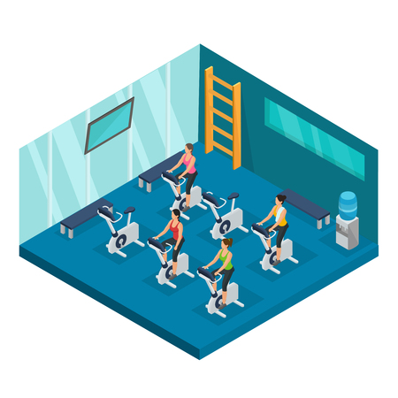 Isometric sport and fitness template with women doing cycling exercise in gym isolated vector illustration