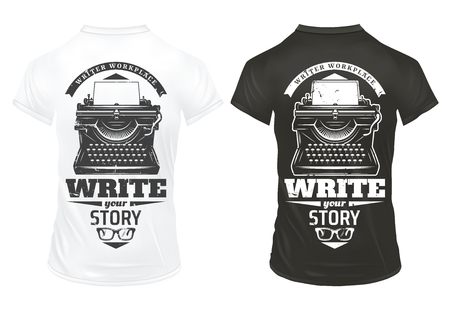 Vintage writer prints template with inscriptions typewriter and eyeglasses on black and white shirts isolated vector illustration