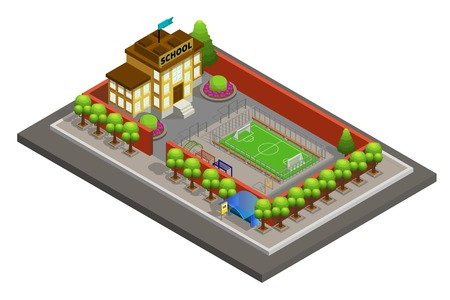Isometric city school building template with soccer field  vector illustration.