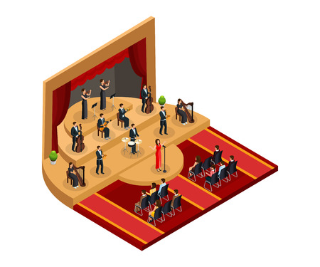 Isometric classical opera performance concept with female singer and musicians on stage in front of audience isolated vector illustration