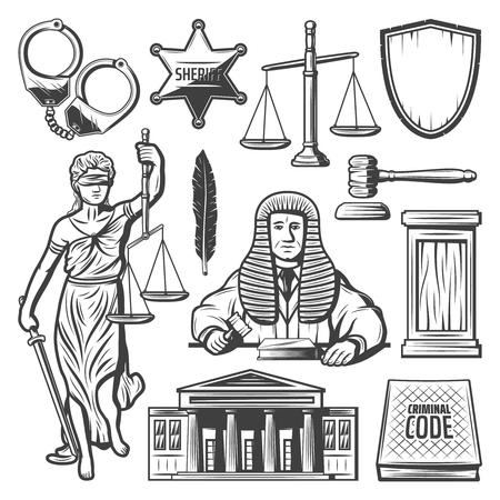 Vintage judicial system elements set illustration on white background.
