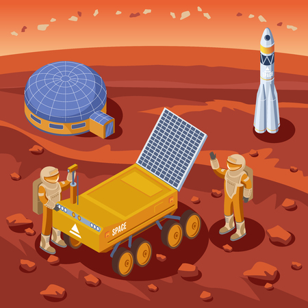 Isometric Mars exploration template with astronauts moon rover colony and rocket on planet landscape vector illustration Illustration
