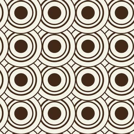 同一の黒と白の円で構成される抽象的な幾何学的シームレスパターン  イラスト・ベクター素材