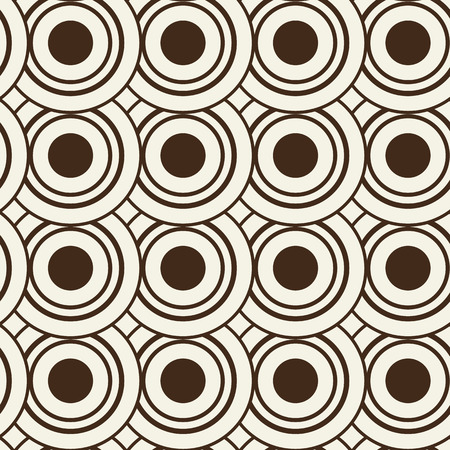 Abstract geometric seamless pattern composed of identical black and white circles
