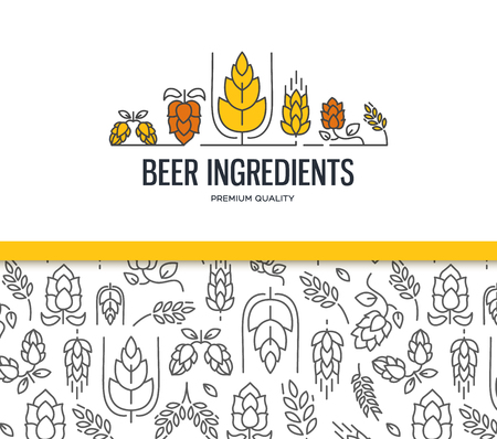Stylish design collection with two field with malt seamless pattern and with the text beer ingredients with twig of hops, blossom, malt vector illustration