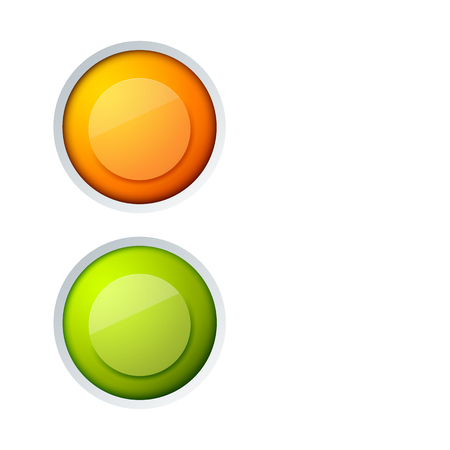 Abstract web interface elements concept with colorful glossy round buttons isolated vector illustration