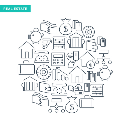 Financial lined icons collection with business money and banking elements in round shape isolated vector illustration