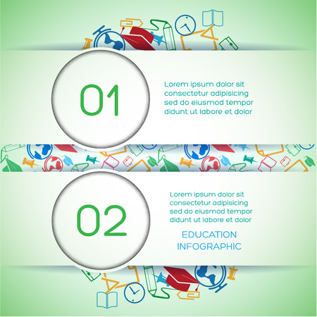 Education infographics with two options horizontal ribbons text colorful icons on light background vector illustration 向量圖像