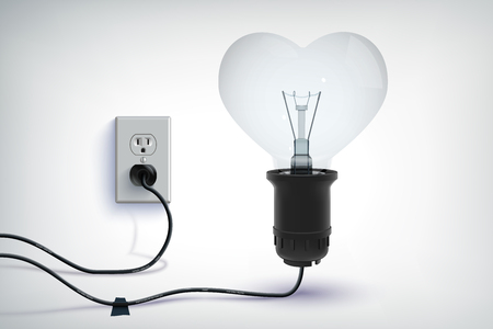 Realistic romantic concept of wired light bulb in heart shape with plug in socket isolated vector illustration