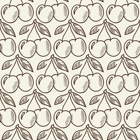 Monochrome hand drawn seamless pattern with repeating cherry branches in sketch design flat vector Illustration Illustration