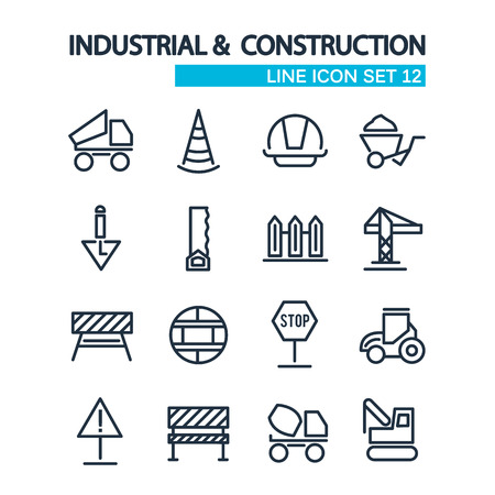 Industrial and construction tools collection decorative icons consisting of different objects such as truck, mechanism, excavator symbols vector illustration Stock Illustratie