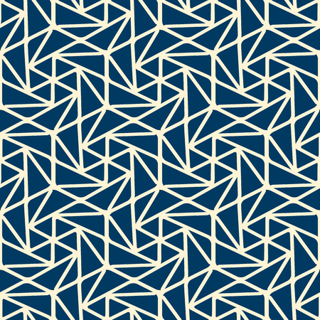 Abstract minimalistic monochrome seamless pattern with white connected linear repeating structure on blue background vector illustration