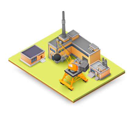 Factory objects design concept on yellow panel with industrial constructions, colored buildings, lifting equipment and different objects concept vector illustration
