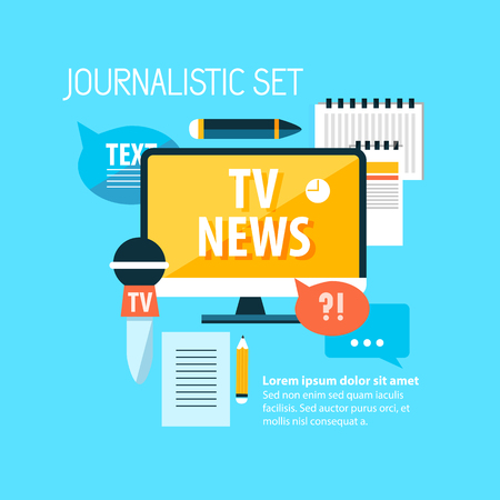 Reporter flat concept with different journalistic equipment and elements on light blue background vector illustration