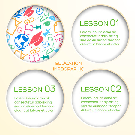 Educational school infographics with round holes three options text and colorful icons vector illustration