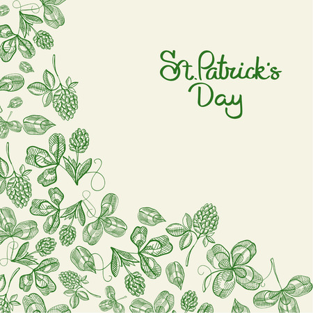 Happy St Patricks Day natural poster with inscription and hand drawn green Irish clover vector illustration. Illustration