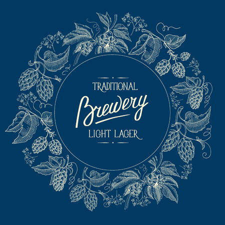 Original round blue background figured frame ornament card with hop berries and stems with inscription about traditional brewery light lager hand drawn style vector illustration.