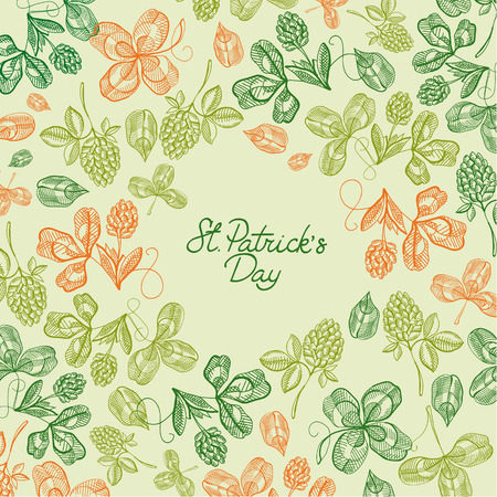 Greeting st. patricks day decorative card with wishes be happy and many icons such as clover, twig, foliage on green background vector illustration Illustration