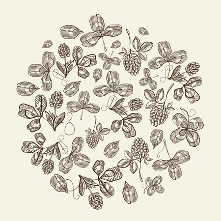 Circle pattern bunches of hop doodle with repeating beautiful berries on white background hand drawing vector illustration Ilustração