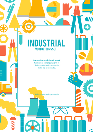 Industrial vector icons set poster with informative text and different cartoons of industry resources and working tools  in industry vector illustration Illustration