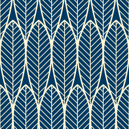 Abstract minimalist seamless pattern with repeating geometric objects of leaf shapes