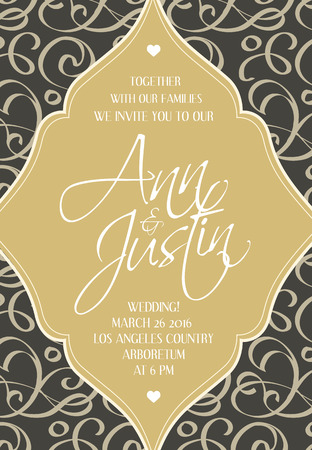 Wedding decorative design invitation card on the weave field and figured frame with words about date, hour and place of wedding celebration vector illustration