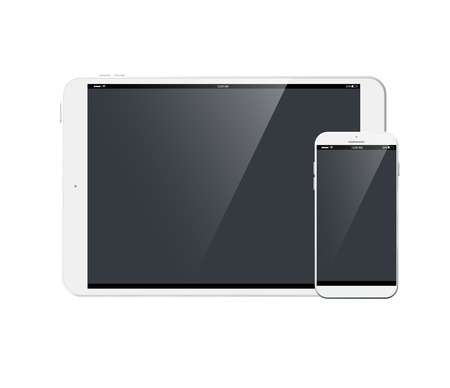 Tablet PC and modern mobile phone collection on the white background Illustration