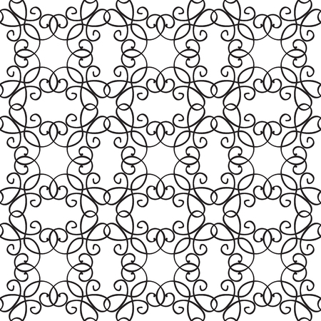 Abstract minimalistic seamless pattern with elegant ornament of repeating structure in monochrome style vector illustration