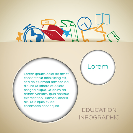 Educational school background with paper cut circles text and colorful icons vector illustration