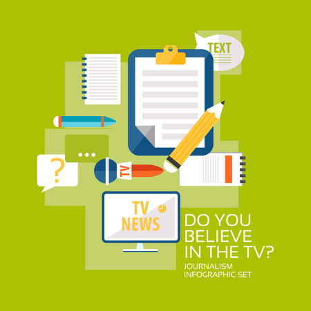 Mass media broadcasting flat infographic concept on green background vector illustration