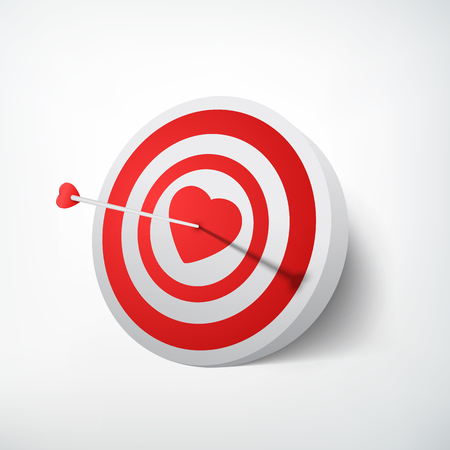 Valentines day target concept with arrow hitting dartboard