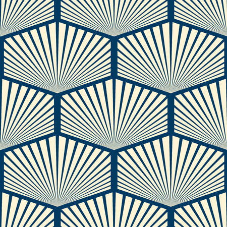 Modern stylish seamless ornament in wallpaper design consisting repeating striped hexagons with divergent rays inside flat vector illustration Stock Illustratie
