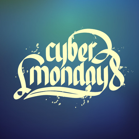 Cyber monday sale typographical concept background flat vector illustration