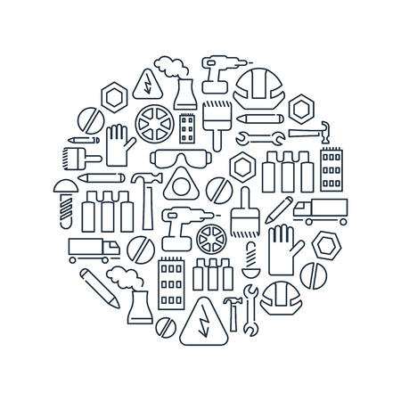 Monochrome industry circle concept with linear building and industrial icons on white background isolated vector illustration