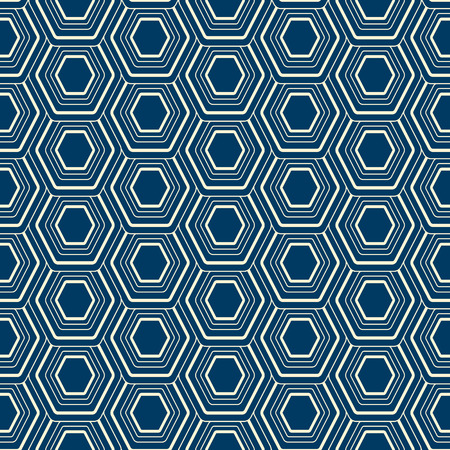 Abstract linear seamless background with geometric ornament composed of stripe hexagon cells flat vector illustration