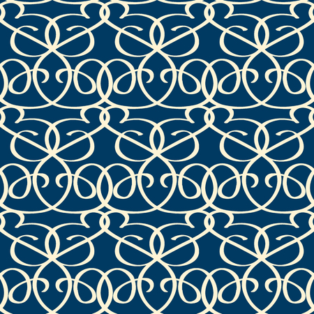 Seamless blue background with ornamental pattern composed of white twisting tapes