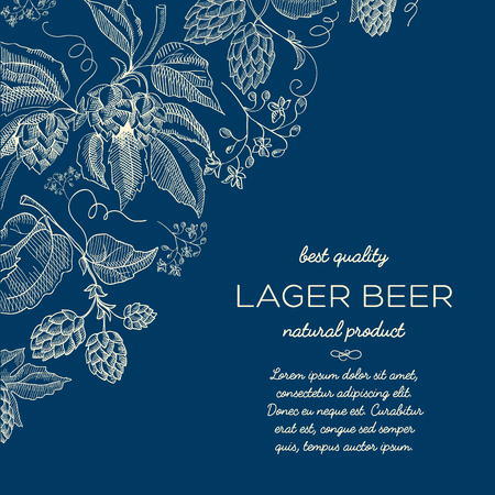 Abstract floral hand drawn blue background with text and beer hop herbal plants in vintage style vector illustration