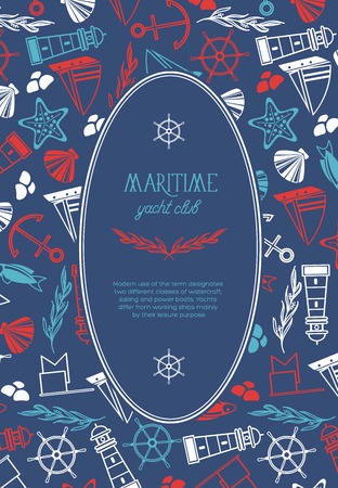 Maritime oval yacht club poster vector illustration
