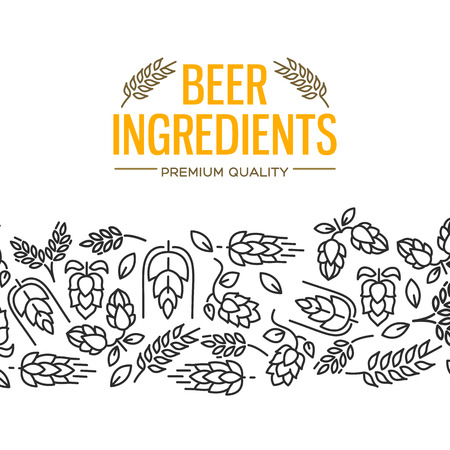 Beer ingredients design card with images under the yellow text and repeating of flowers, twig of hops, blossom, malt vector illustration
