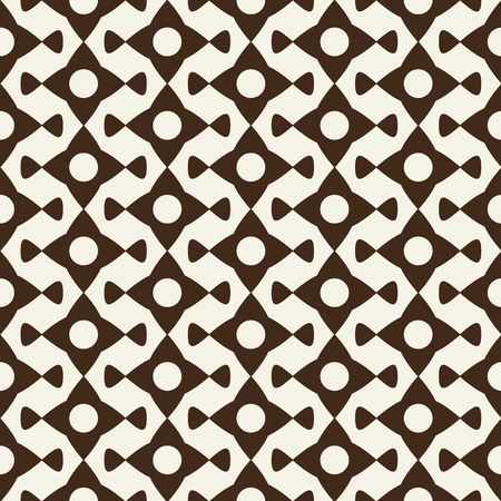Modern monochrome seamless pattern with geometric print formed by ornament from abstract elements flat vector illustration