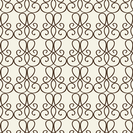 Fragment of decorative lattice in baroque style with vignette line ornament composed from monochrome elements flat vector Illustration Illustration